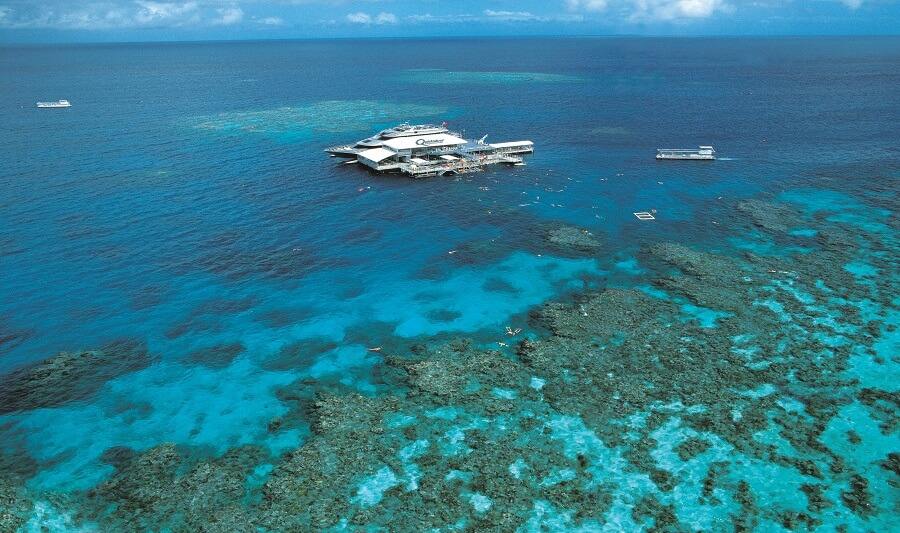 Aerial view of the Quicksilver platform and surrounding reef
