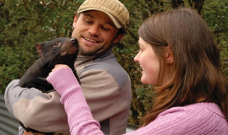 Cuddling with a Tasmanian Devil